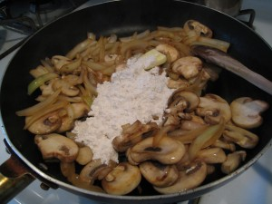 Stir fry onion and mushroom, then add butter and flour to make a roux