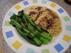 Choy Sum with Oyster Sauce and Egg Noodles