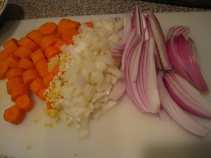 Cut vegetables first