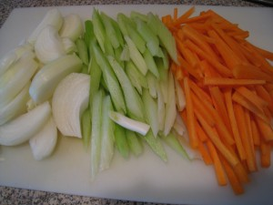 Cut Onion, Celery and Carrot into Strips