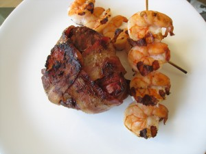 Bacon Wrapped Filet Mignon with Grilled Shrimp
