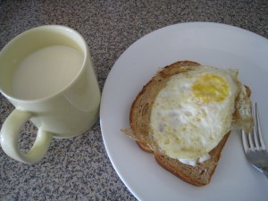 My breakfast: egg, wheat toast, soy milk