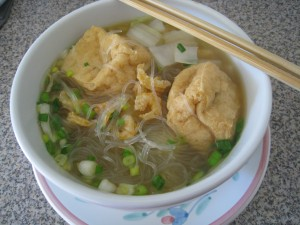 Fried Tofu Noodle Soup with Dried Shrimp