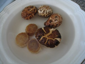 Soak dried scallops and dried shiitake mushrooms first