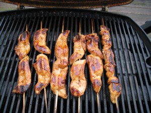 Grill chicken on a stick