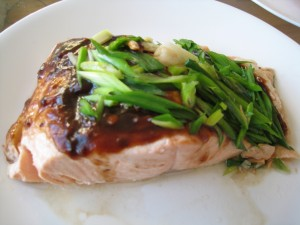 Steamed Salmon with Black Bean Sauce