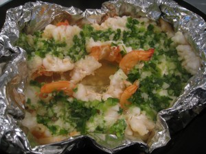 Steamed shelled garlic shrimp cooked in less than 10 mins