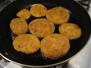 Pan fry the frozen eggplant cutlets
