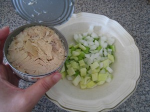 Cut celery and onion