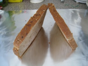Toast and let bread to cool down